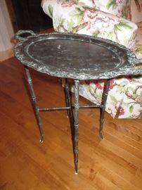 METAL TRAY TABLE ON FAUX BAMBOO STAND ACCENTED WITH PATINA MAITLAND-SMITH LTD.