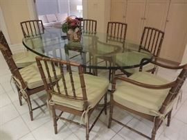 FAUX BAMBOO REGENCY WITH GOLD ACCENTS CHAIRS  KINDEL FURNITURE COMPANY  NOTE:  TABLE IN PHOTO NOT FOR SALE