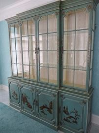 BREAKFRONT TEAL WITH HAND PAINTED CHINOISERIE DECORATION, 4 BEVELED GLAZED DOORS OVER 4 CUPBOARD DOORS ON PLINTH BASE  UNION NATIONAL FURNITURE