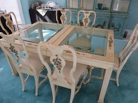 GLASS INSERT TOP DINING TABLE  / 8 QUEEN ANNE CHAIRS WITH HAND PAINTED ACCENTS				 UNION NATIONAL FURNITURE	(shown without leaf)