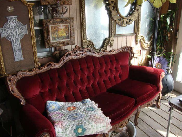 Red Velvet Tufted Sofa