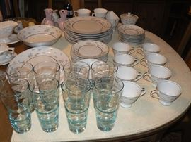 8 piece set - Ashcraft Lorient Pattern, with Glassware - Mint Condition