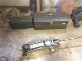 Tool Boxes stocked with old and new tools,  Pneumatic spray guns, truck hitches, automotive pneumatic tools,