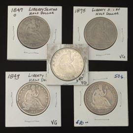 5 Seated Liberty Half Dollar Coins