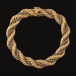 18 k Handmade White and Yellow Gold Bracelet
