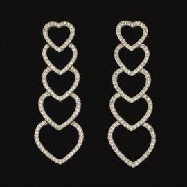 A Pair of Diamond Heart Pendant Earrings