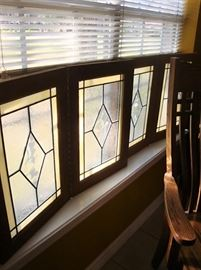ANTIQUE STAINED GLASS BI-FOLD WINDOWS, TWO SETS