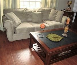 MICROFIBER SOFA - WE HAVE THE MATCHING CHAIR/OTTOMAN
