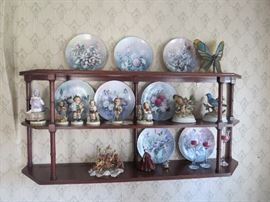 Display Shelf with Hummels and Butterfly Plates