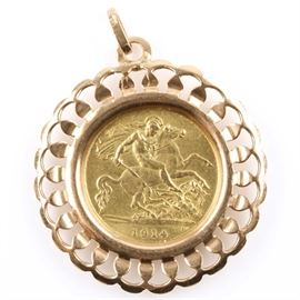 1914 British Gold Half Sovereign set in an 18K Rose Gold Pendant: A 1914 British gold half sovereign set in an 18K rose gold pendant. Features King George V on the obverse and St. George slaying a dragon on the reverse. Mintage: 7,251,000. Metal content: 92% gold. Diameter: 19 mm. Weight: 4 grams. Pendant weighs 2.9 grams without the coin. Circulated. Good condition.