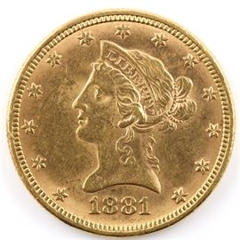 1881 Liberty Head $10 Gold Coin: An 1881 Liberty Head $10 Gold coin. Designer: Christian Gobrecht. Mintage: 3,877,220. Metal Content: 90% Gold, 10% Copper. Diameter: 26.8 mm. Weight: 16.7 grams. Circulated. Good condition.