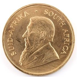 1980 South African Krugerrand Gold Bullion Coin: A 1980 South African Krugerrand gold bullion coin. Mintage: 3,049,396. Metal content: 91.67% gold. Diameter: 32.7 mm. Weight: one troy ounce. Very good condition.