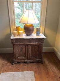 Victorian Walnut Wash Stand with Marble Top