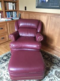 Hancock & Moore Tilt Back Leather Chair with Ottoman