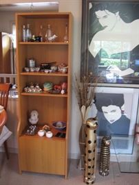 Living Room  Patrick Nagel Pictures, Book case, Hawaii collectibles, Bottles