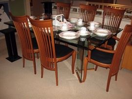 Living room  A. Sibau 6 Dinning room chairs, Large Glass top table