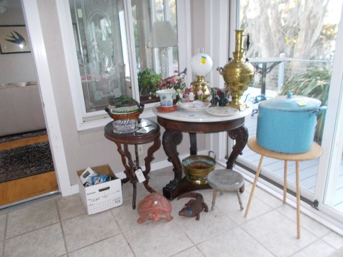 Marble top table sold. Brass sold.