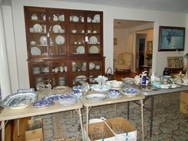 lots of blue and flow blue as well as early decorated and gilded plates