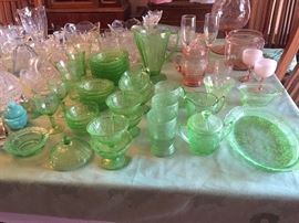 Vintage pink and green depression glass