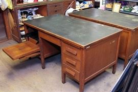2 each - 50's style oak desks w/ fold out typewriter drawer