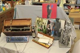 vintage surveyor's transom /  antique calligraphy pens / minuteman / minutewoman statues / hundreds of classic vinyl LP's