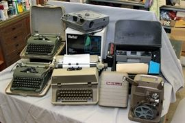 vintage typewriters, 8mm film projector, Kodak and Vivitar 35mm Carousel slide projectors