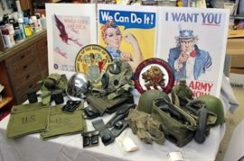 WWII era posters / misc military equipment to include: steel pot helmets, gas mask, map cases, and field phones / plaster bas reliefs of NJ State Seal and National Guard Association of NJ Carteret Lion logo