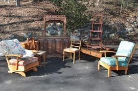 various furniture: chairs, coffee tables, armoirs, sewing table, hamper, corner shelf