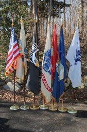 flags, flags, flags and more flags w/ or without flag poles / pedestals: US, NJ, POW-MIA, most of the 50 state flags, and military service flags