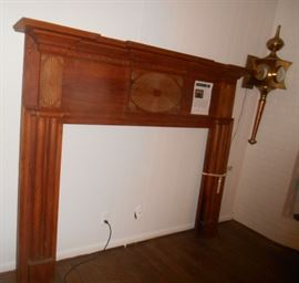 Early American Federal hand carved Fireplace Mantle made of Pinewood.(w carved horizontal  oval Starburst Paterae in the center with 2 vertical Paterae's on each side)