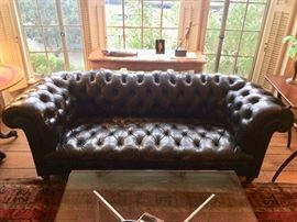 Classic Black Leather (Steam-Punk) Chesterfield Sofa