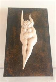 "Richard Boyce.  1920-1976  ""Woman"".  Bone Mounted to Plaque.  5""h."