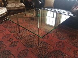"""Mid Century Knoll """"Barcelona""""  Cocktail Table with Initial Signature on Frame"""
