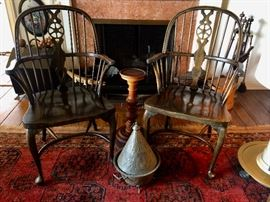 Pair of 18th C. Style English Windsor Chairs and Tagine