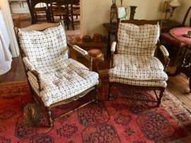 Pair Charming and Comfortable Country French Open-Arm Chairs