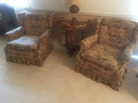 2 Vintage 1950's arm chairs with original fabric! Hickory Furn Co N. Carolina