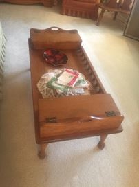 1956 Cal Shops Co. Maple coffee table with 2 compartments