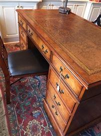 antique desk w/ leather top