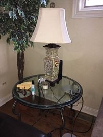 glass end table & lamp