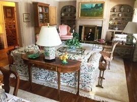 Antique and vintage furniture, including Habersham block carved secretary cabinet