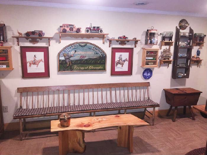 Original Saratoga Racecourse bench and many automobile collectibles