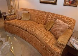BUY IT NOW!  Lot #300, Vintage Curved Sofa (Gold/Rust Velveteen Upholstery), $250