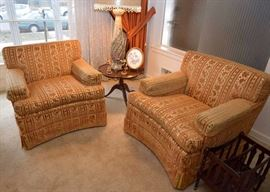 BUY IT NOW!  Lot #302, Pair of Wide Vintage Armchairs (Gold/Rust Velveteen Upholstery), $200