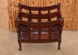 BUY IT NOW!  Lot #305, Vintage Mahogany Magazine Rack, $15