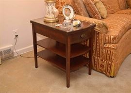 BUY IT NOW!  Lot #306, Vintage Mahogany Side Table with Drawer & 2 Shelves, $60