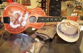 Roy Rogers toy guitar, toy guns and holsters,  child's vintage clothing  NEW OLD STOCK!