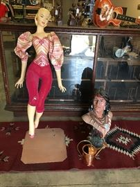 "Last minute additions!  Look at this beautiful little lady and her Native American friend!    39"" mannequin and Indian bust."
