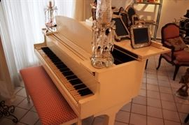 Lacquered White Baby Grand Piano
