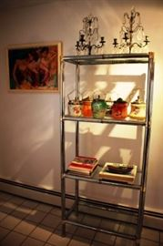Metal & Glass Shelves with Decorative