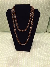 Chanel Leather and Gold Tone Necklace